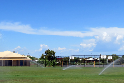 Sprinkler irrigation system installed by Think Water Broome at local primary school.