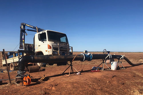 All set up for pump testing on remote bore